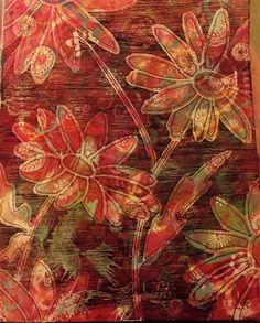 Daisies Dylusion inks & paints, paint pens