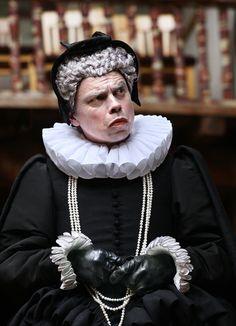 Richard III directed by Tim Carroll,  James Garnon as Duchess of York (C) Simon Annand     http://www.shakespearesglobe.com/theatre/on-stage/richard-iii-2012