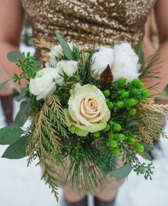 But with purple flowers. Outdoorsy Glam Pennsylvania Wedding: do you think we could make a bouquet along this idea? Use a few lace/fabric/paper flowers, and then some evergreens and twigs and stuff? Winter Wedding Flowers, Floral Wedding, Winter Weddings, Glitter Wedding, Bridesmaid Bouquet, Wedding Bouquets, Bridesmaid Dresses, Wedding Bridesmaids, Wedding Dresses