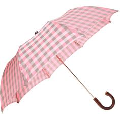 Barneys New York Buffalo Check Folding Umbrella ($130) ❤ liked on Polyvore featuring accessories, umbrellas, umbrella, gingham, wood handle umbrella, folding umbrella, barneys new york and wooden handle umbrella