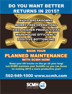 Check out this deal from scmh forklift planned maintenance freedom avoid breakdowns worry free operations yield higher productivity warehouse efficiency positive bottomline keep your lift trucks o fandeluxe Gallery