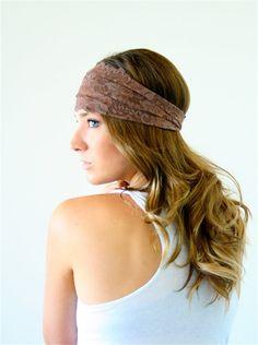 taupe brown lace headband urban turban headwrap gym by nakedwindow, $14.00