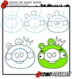 Como dibujar al cerdo de Angry Birds:  http://www.comodibujar.es/aprender-dibujar/personajes-de-videojuegos/dibujar-angry-birds/como-dibujar-al-cerdo-de-angry-birds/
