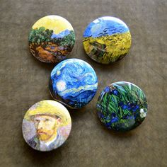 Thing 1, Pin And Patches, Cute Pins, Custom Buttons, Vincent Van Gogh, Pinback Buttons, Rock Art, Painted Rocks, Making Ideas
