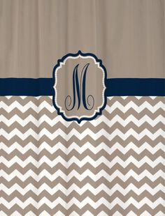 """Shower Curtain - Taupe Beige Chevron with Navy Accents - 69x70"""" - 100% Polyester - Monogram Personalized Custom. $69.00, via Etsy."""