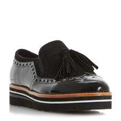 a305c48853f2bd DUNE DAMEN – GLORYA – Flatform-Loafer mit Brogue-Detail und Quaste – Schwarz