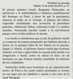 Presidente israelí se autoinvita a la marcha en París. 13 ene 2015