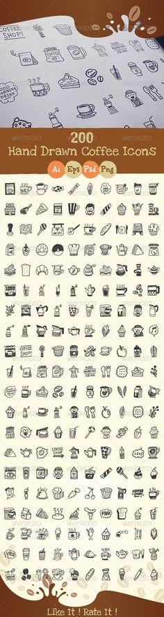 200+Hand+Drawn+Coffee+Icons:
