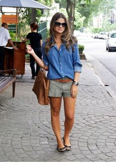 denim or chambray / olive shorts / brown / leopard flats