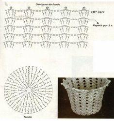 Discover thousands of images about WAZONY I INNE - Anetta Rosińska - Álbumes web de Picasa Crochet Basket Pattern, Crochet Diagram, Crochet Chart, Crochet Motif, Crochet Doilies, Crochet Flowers, Crochet Stitches, Crochet Patterns, Crochet Vase