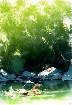 Enjoy the diverse gallery of summer illustrations by famous artist Pascal Campion: nature, people, sun and love in digital art. Pascal Campion, Art And Illustration, American Artists, Beautiful Eyes, Amazing Art, Concept Art, Scenery, Swimming, Landscape