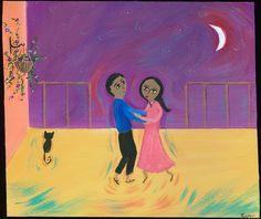 Mexican Folk Art Paintings-Original Artwork Direct From The Artist-RoMy-Terlingua Art Studio: NR! Dance Moon Love Cat MeXiCaN FoLk ArT RoMy Painting