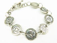 Fine Silver Sterling Silver Chakra Bracelet - Meditation Bracelet - Chakra Symbols - PMC Bracelet - OOAK - Artisan Jewelry