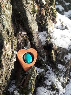 Gemstone Pendant + Small Wooden Gift Box/Healing stone/ Wooden Heart/chrysocolla/chrystal/Valentine's day/ Birthday Wooden Gifts, Wood Art, Gemstone Rings, Rings For Men, Healing, Gemstones, Pendant, Box, Heart