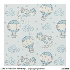 Cute Pastel Blues New Baby Boy Nursery Fabric