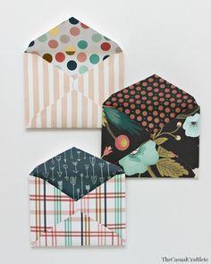 DIY Scrapbook Paper Envelopes  Pattern @ thecasualcraftlete.com
