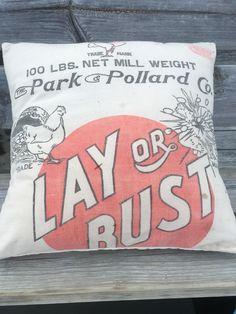 Vintage Chicken Park & Pollard Co Advertising 18x18 Feed Sack
