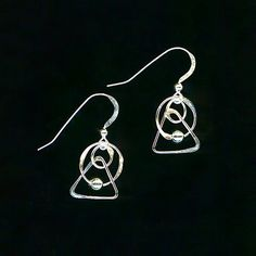 Triangle Wire Beaded Earrings Circle Earrings Dangle Silver Earrings Triangles Circles Beads Hammered Metalwork