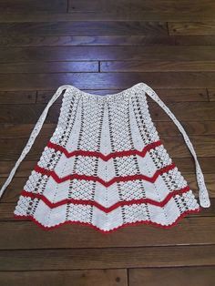 Handmade Crocheted Apron Cream with Red Zig Zags from saltymaggie on Ruby Lane