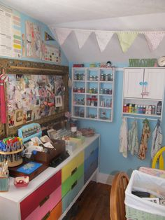 Little shelves and cabinets filled with goodies in my #craftroom