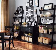 bookshelf decor idea for living room-- would be perfect on the sides of the TV in the family room Deep Shelves, Wall Shelves, Ladder Shelves, Leaning Shelves, Book Shelves, Black Ladder Shelf, Ladder Shelf Decor, Leaning Ladder, Bookshelf Ideas