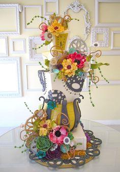 Whimsical feminine steampunk wedding cake