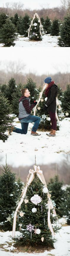 "He asked her to marry him in the middle of a Christmas tree farm with a special ornament! As soon as she read ""Will you marry me?"" he got on one knee to propose. Winter Proposal, Christmas Proposal, Christmas Engagement, Romantic Proposal, Proposal Photos, Perfect Proposal, Winter Engagement, Proposal Photography, Proposal Ideas"