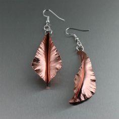 Trendy Copper Fold-Formed Leaf Earrings  Presented on https://www.ilovecopperjewelry.com/copper-fold-formed-leaf-earrings-small.html #7thAnniversary #EarCandy
