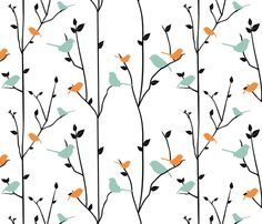 springbirds fabric from spoonflower - site where you can create custom fabric!  I probably didn't need to know that this exists...