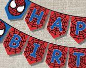 SPIDER SUPERHERO Happy Birthday Banner - Inspired - Pop art - Invitation - Style A