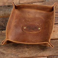 Personalized Engraved Collapsible Leather Valet Tray Coin