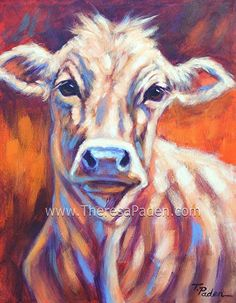 "Young Cow in Sunlight, by Theresa Paden. Original  painting on 14"" x 11"" canvas"