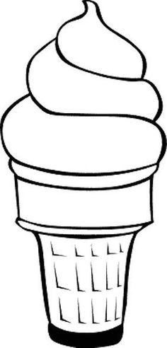 Free Ice Cream Cone Template or Coloring Page