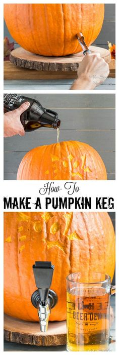 How To Make A Pumpkin Keg | This is such a good idea for an Oktoberfest party.
