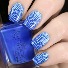 Nail Art By Belegwen: Gina tricot Clear Blye with light blue stamps
