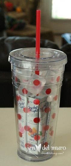 An inexpensive gift to give... cute re-usable cup, flavor packets, frozen ice-cubes.