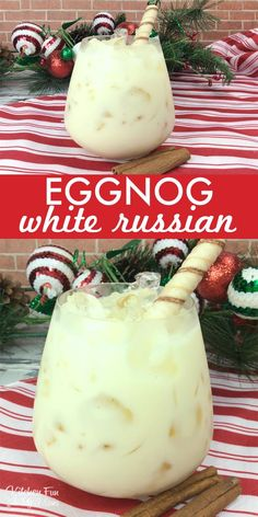 This White Russian Eggnog recipe is a quick and easy winter cocktail for adults that will be the hit of your holiday party. This White Russian Eggnog recipe is a quick and easy winter cocktail for adults that will be the hit of your holiday party. Winter Drinks, Holiday Cocktails, Cocktail Recipes For Christmas, Christmas Drinks Alcohol, Christmas Cocktail Party, Fun Drinks, Yummy Drinks, Eggnog Drinks, Alcoholic Drinks For Winter