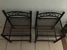 2 x Black With Glass Top Wrought Iron Style Bedside Tables - Excellent Condition