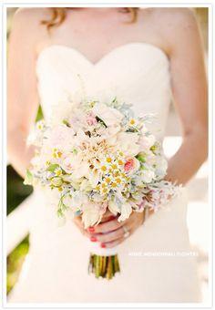 Garden rose, Dusty Miller, Jasmine, Dahlia and mini Daisies wedding bouquet