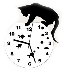 Amazon おしゃれ ! 【 黒猫 金魚 掛け時計 + フック セット 】 アンティーク インテリア 壁掛け時計 北欧 時計 かわいい ネコ ねこ 雑貨 猫グッズ 壁掛け デザイン (猫 水槽) 置き時計・掛け時計 オンライン通販