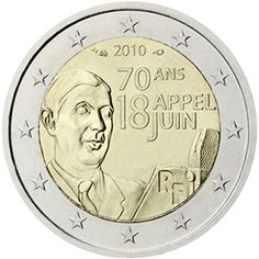 2 euro coin - Anniversary of the Appeal of June 18 by General de Gaulle Euro Währung, Piece Euro, France Euro, World Aids Day, Euro Coins, Gold Money, 70th Anniversary, Commemorative Coins, World Coins