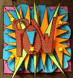 Superhero art pop up - Art Education ideas Middle School Art Projects, Art School, High School, School Logo, Club D'art, Classe D'art, 7th Grade Art, Recycled Art Projects, Ecole Art