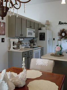 gray cabinets with white appliances