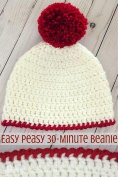 Easy Peasy 30-Minute Beanie Crochet Pattern http://hearthookhome.com/easy-peasy-30-minute-beanie-crochet-pattern/?utm_campaign=coschedule&utm_source=pinterest&utm_medium=Ashlea%20K%20-%20Heart%2C%20Hook%2C%20Home&utm_content=Easy%20Peasy%2030-Minute%20Beanie%20Crochet%20Pattern