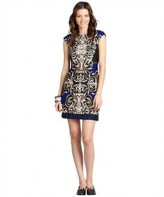 Donna Morgan blue damask printed cap sleeve sheath dress on WearsPress