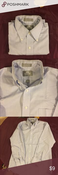 Stafford Executive men's dress shirt Long sleeve oxford style shirt in light blue. 60% cotton/40% polyester. Machine wash. Neck size 15 1/2.. Used and in good condition. A light stain around inside neckline only. No rips/no snags. Smoke free home. Thank you 🙋🏻😘 Stafford Shirts Casual Button Down Shirts