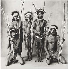 View Five Okapa Warriors, New Guinea by Irving Penn on artnet. Browse more artworks Irving Penn from HK Art Advisory Projects. Irving Penn, African Tribes, National Gallery Of Art, Human Art, Magazine, Body Painting, Artsy, Black And White, Artwork