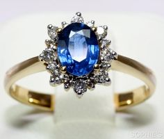 Natural 1CT Blue Sapphire & Diamond Victorian Engagement Ring In 18K Yellow Gold #SolitairewithAccents