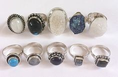 the rings! got to love some chunky rings with precious stones :)