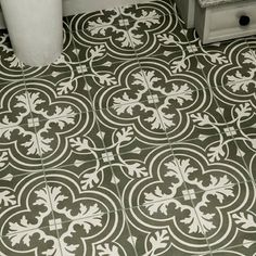 """EliteTile Forties 7.75"""" x 7.75"""" Ceramic Floor and Wall Tile in Classic White and Gray"""